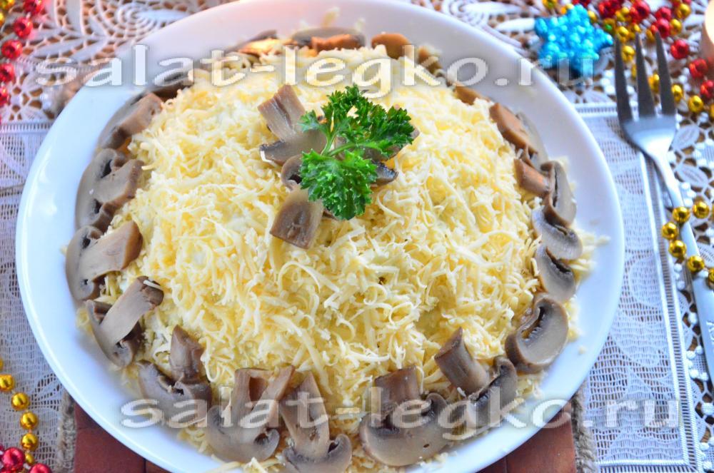 Салат слоеный с картошкой и курицей и ананасами рецепт 153