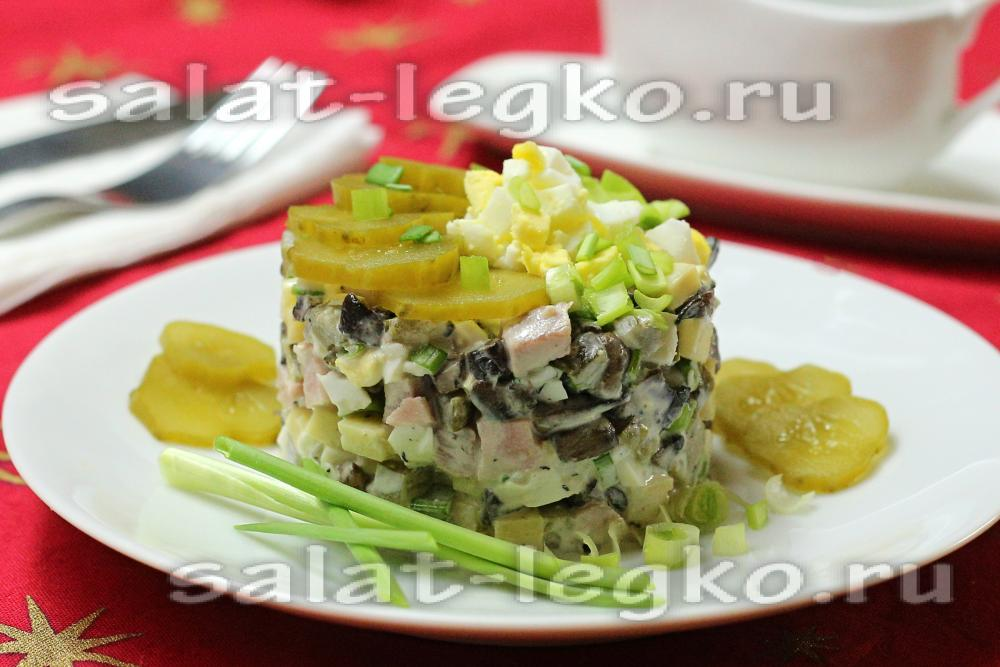 Салат рецепт с ветчиной и грибами