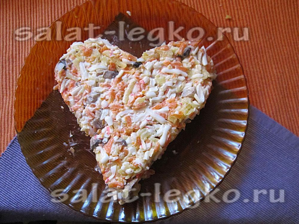 Салат сердца сыром фото