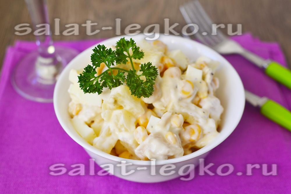 Простой салат из ананасов и курицы рецепт