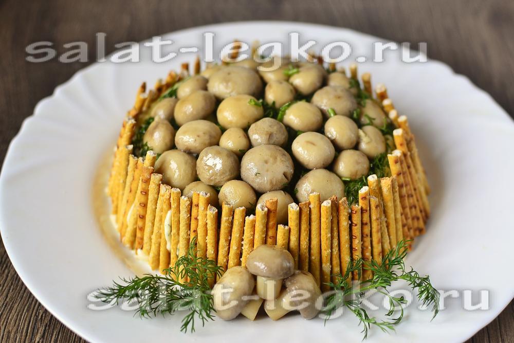 Грибная поляна шампиньонами рецепт фото
