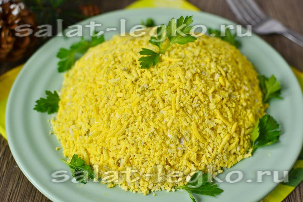 Рецепт салата мимоза с сайрой с