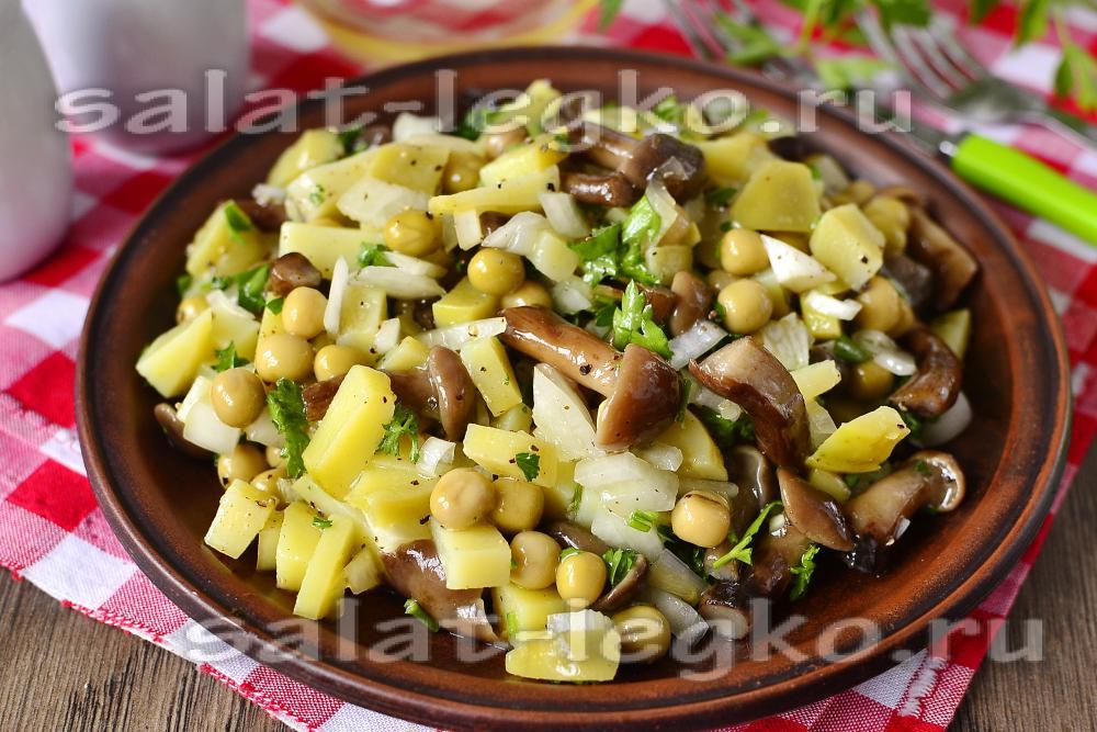 Салат деревенский с фото с грибами