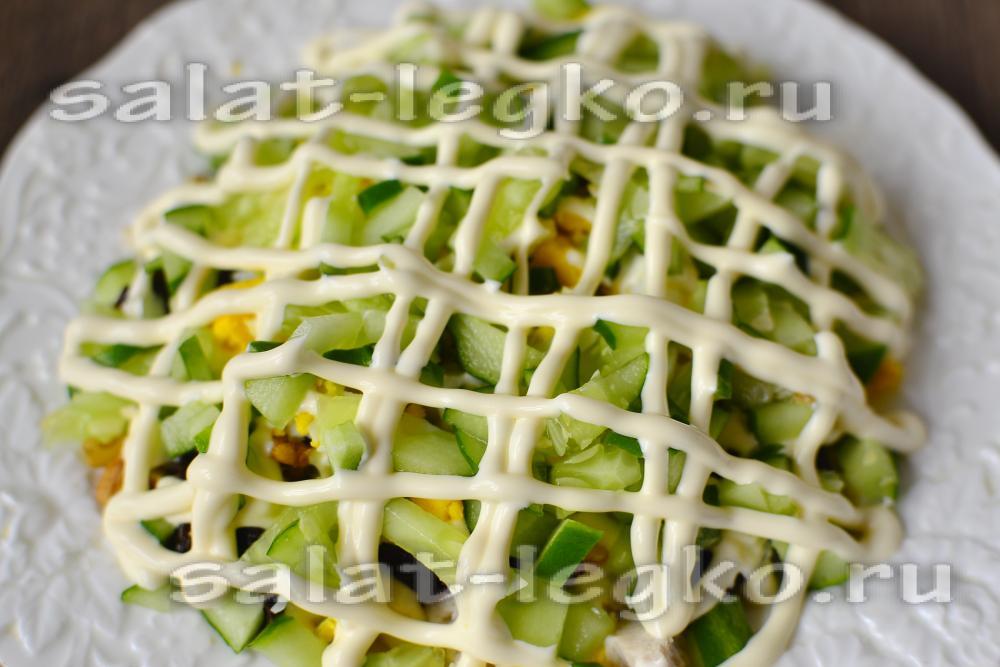рецепт салата с курицей и черносливом и огурцами