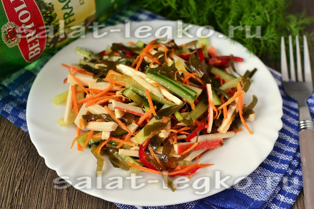 рецепт салата с морской капустой и кукурузой рецепт