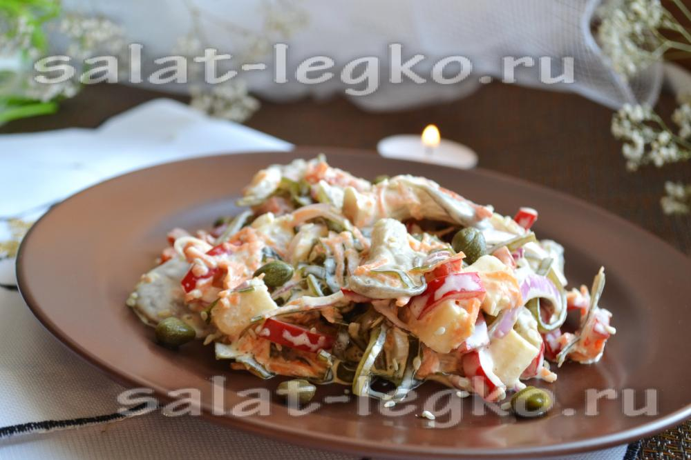 рецепт салата грибная поляна с солеными огурцами