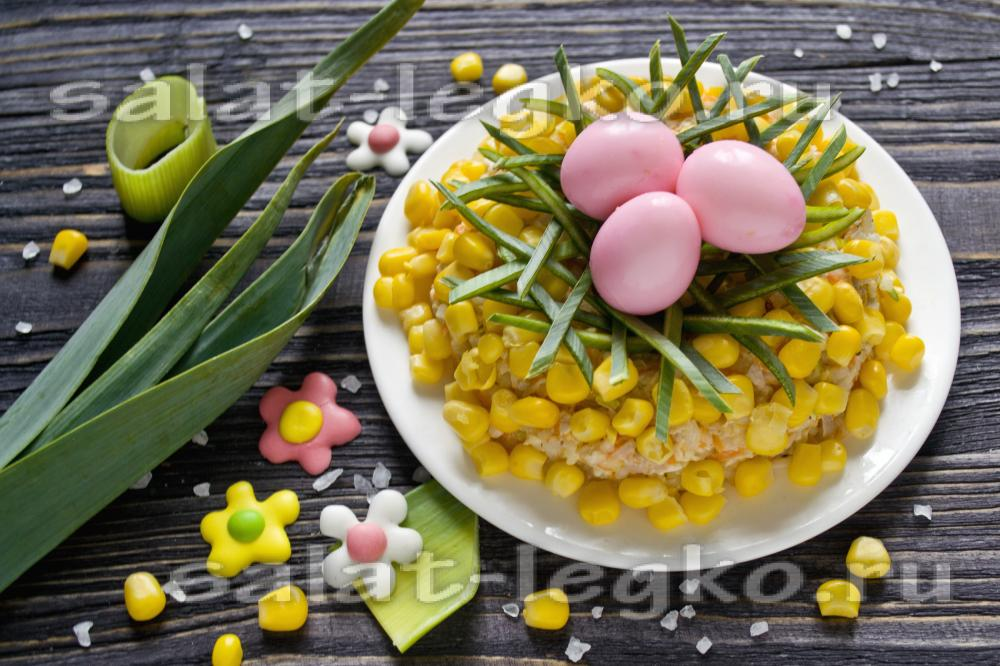 рецепт салата из курицы с шампиньонами и кукурузой