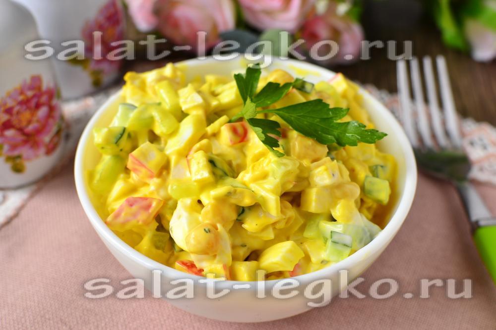 Салат крабовый с кукурузой и огурцом рецепт с