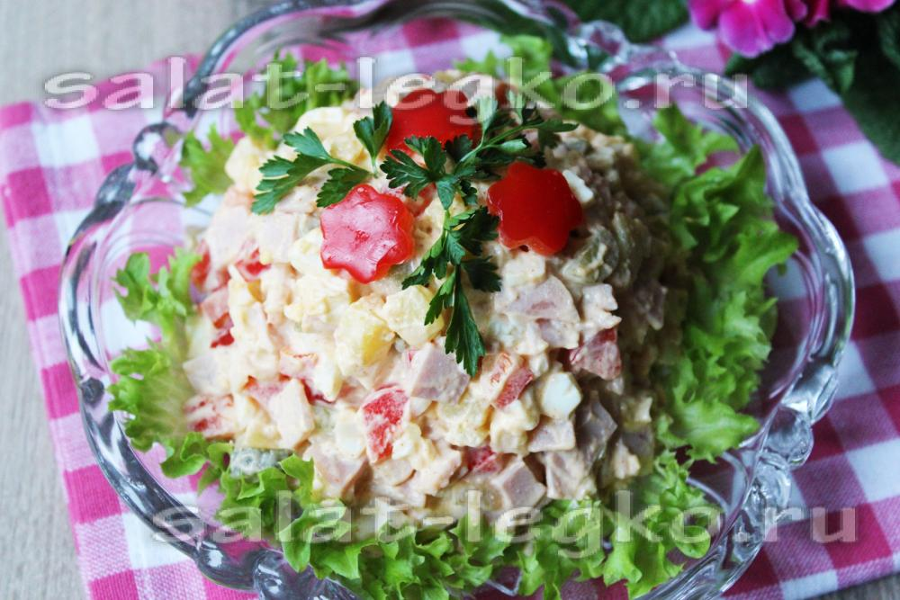 салат прага рецепт с фото с ветчиной