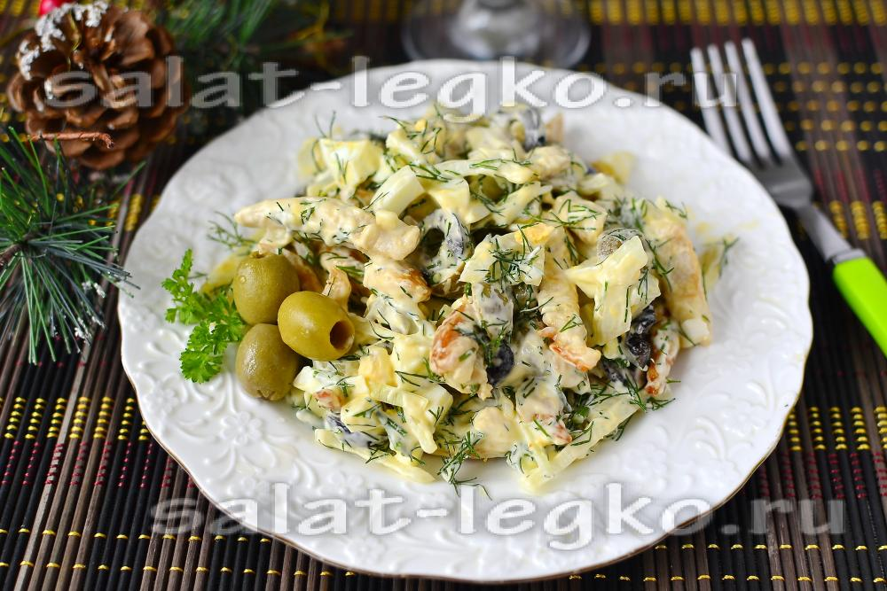 Салаты с оливками и грибами рецепты с
