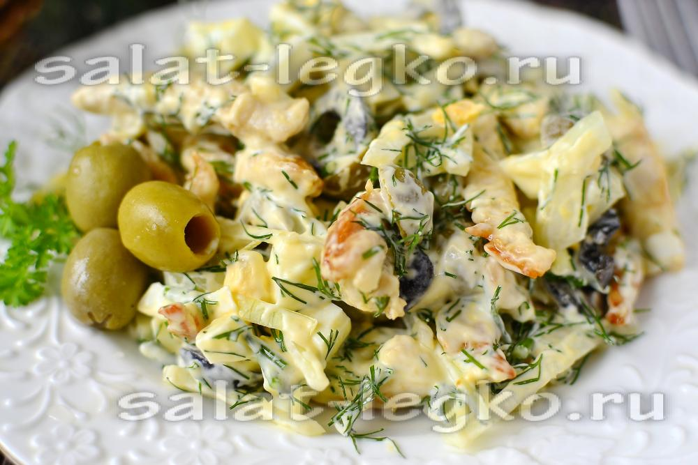 Салат из куриной грудки и шампиньоновы с фото