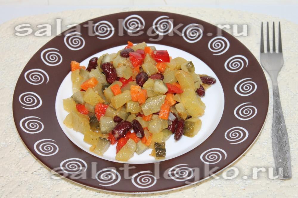 Салат из фасоли консервированной быстро