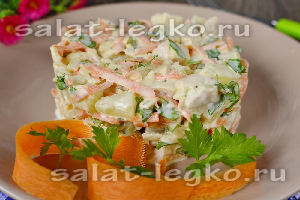 Салат ананас яблоко куриная грудка