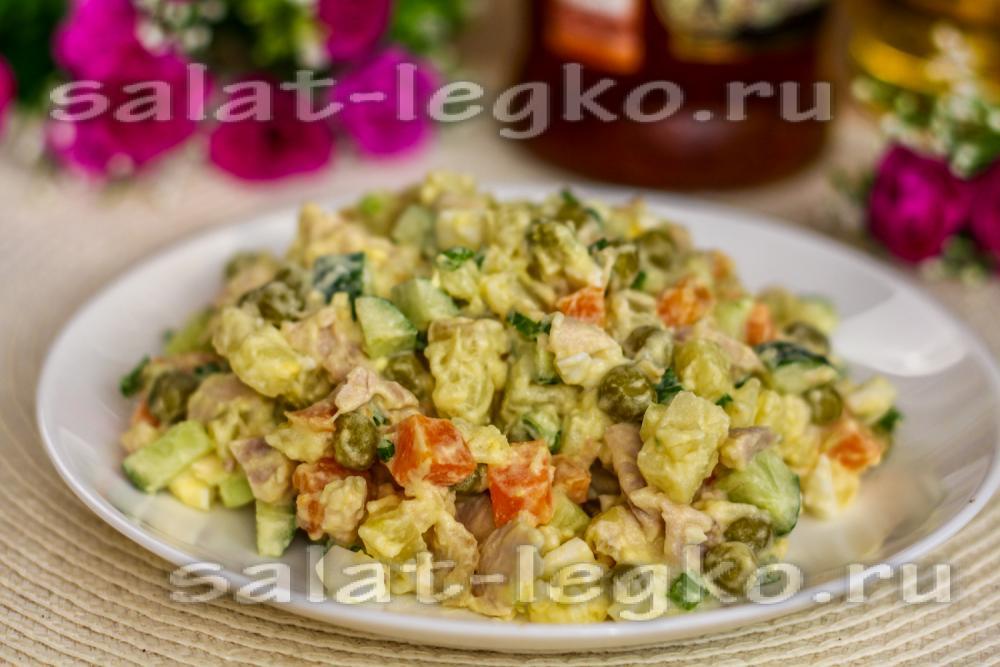 салат столичный классический рецепт с курицей и свежим огурцом