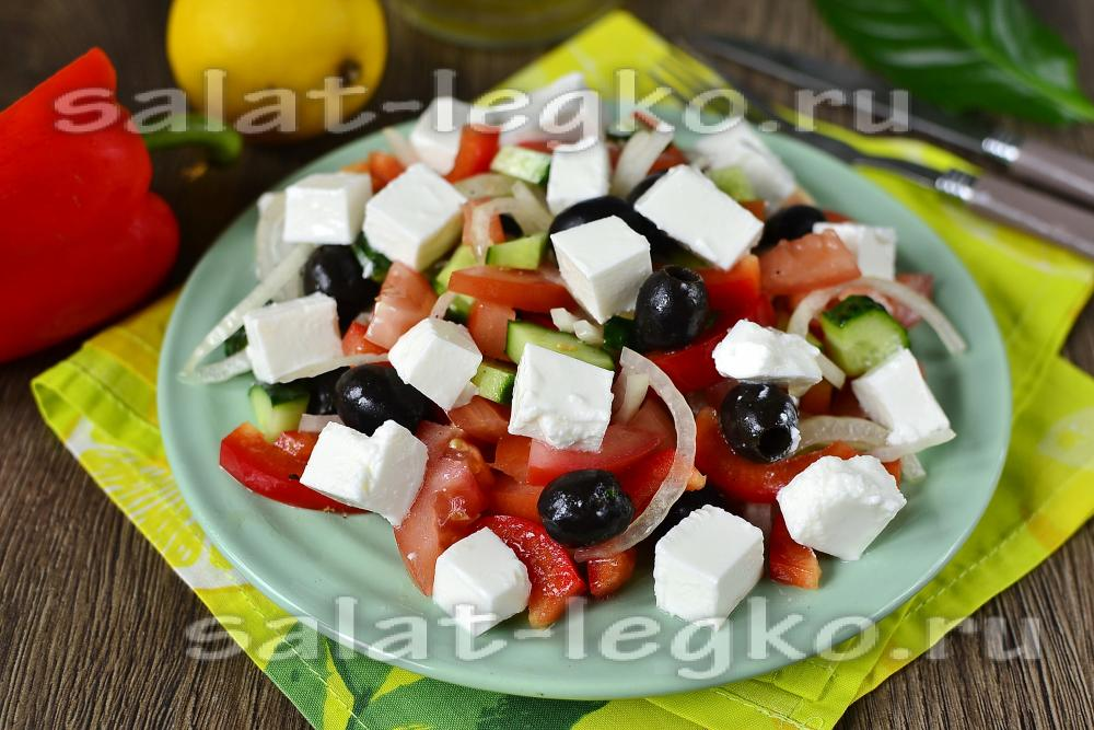салат греческий рецепт классический с фетаксой с фото и