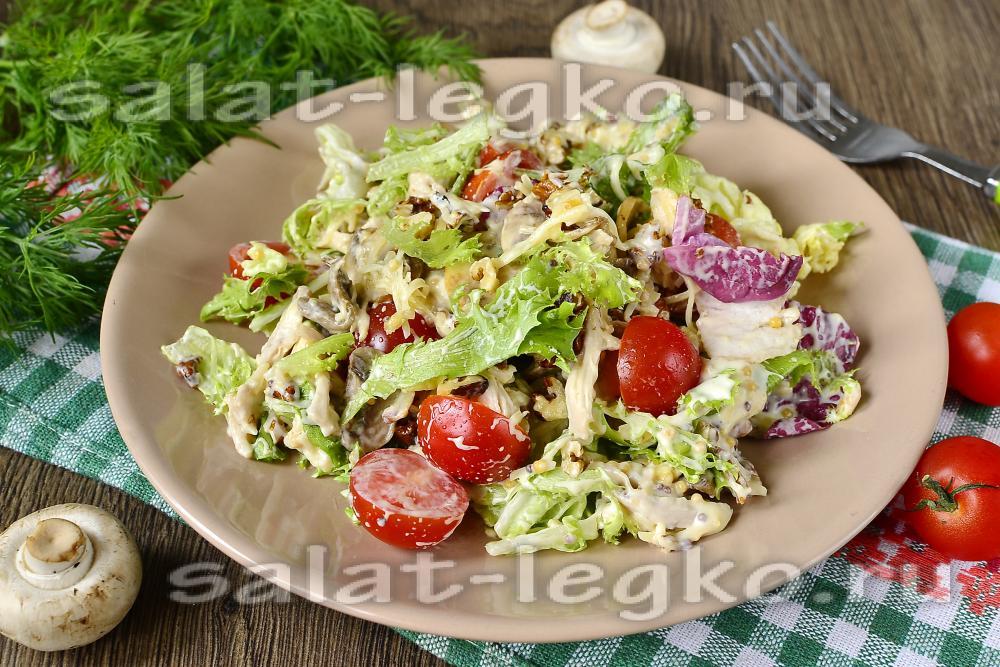 Слоеный салат из грибов с
