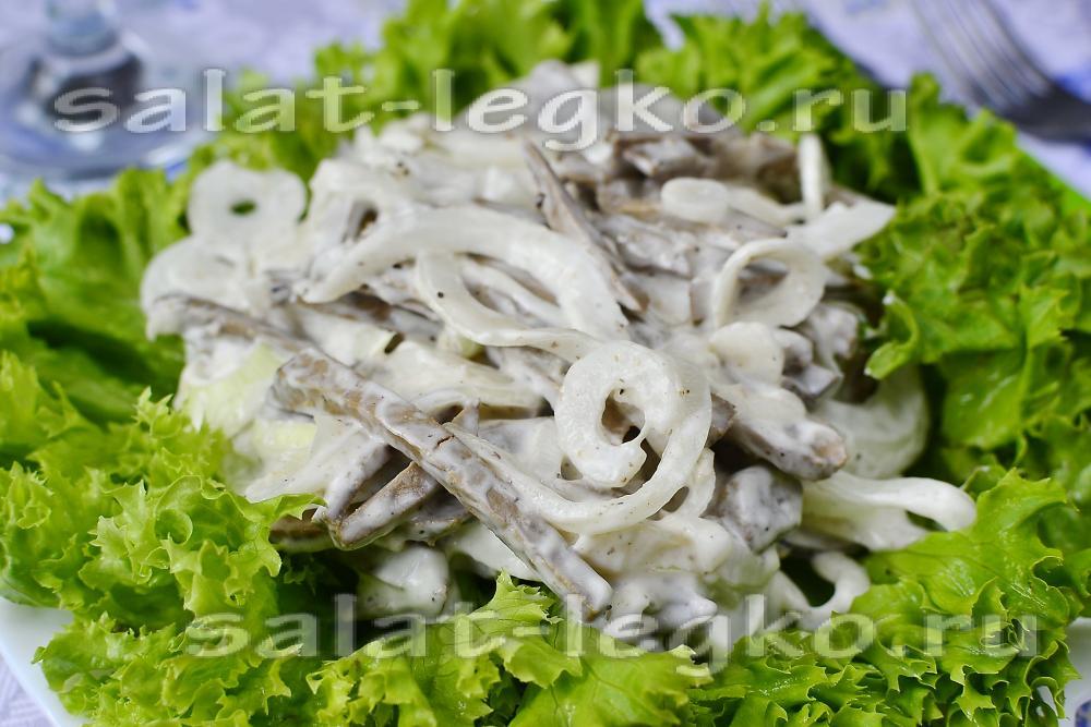 Печень с луком салат рецепт