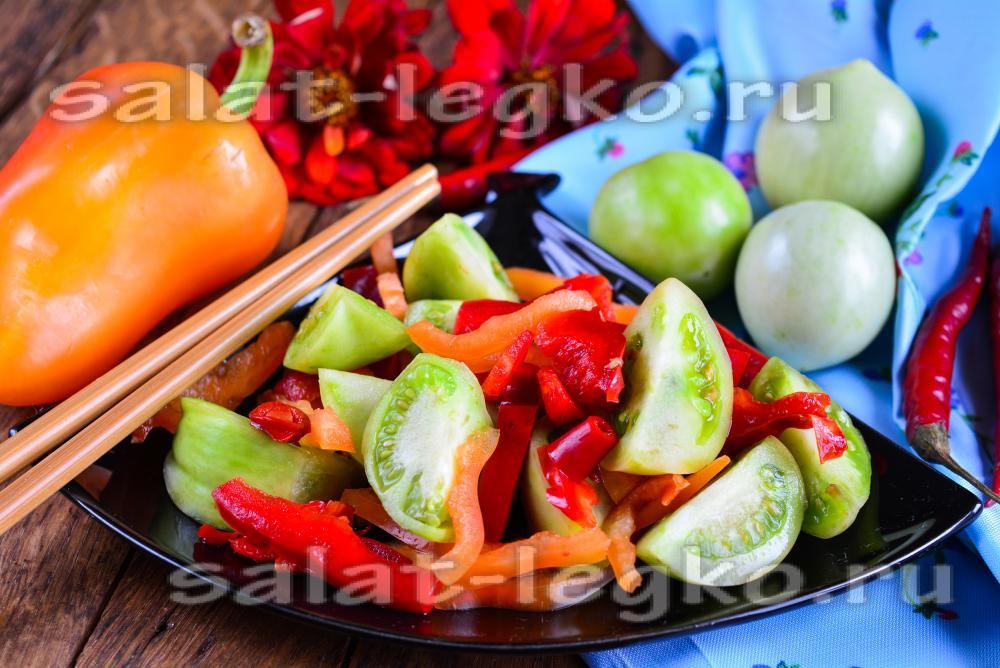 рецепт приготовления салата из зеленых помидор