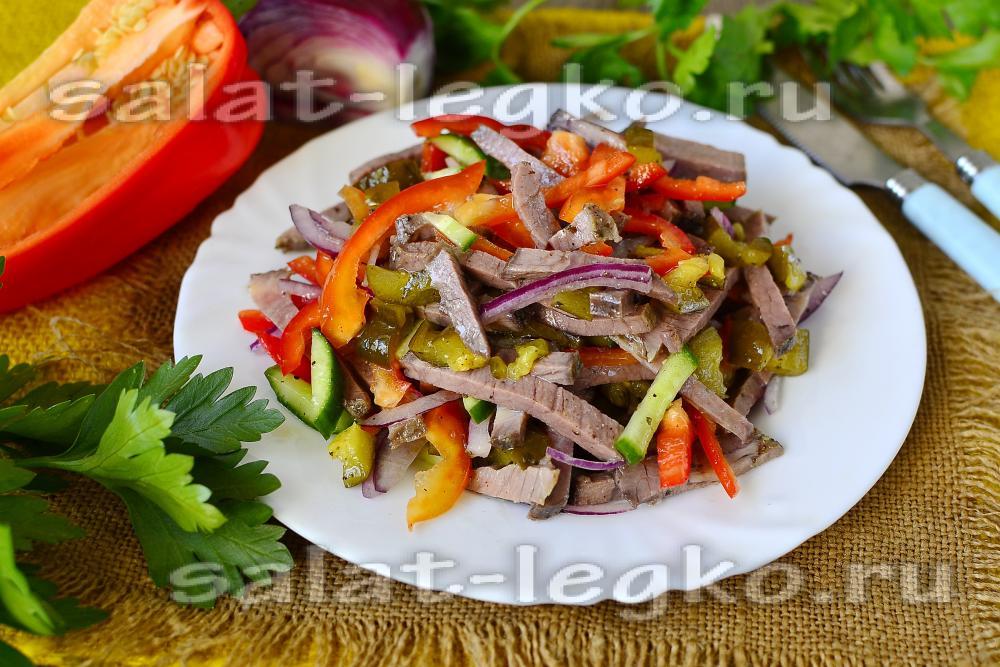 Салат мясо по русски из говядины