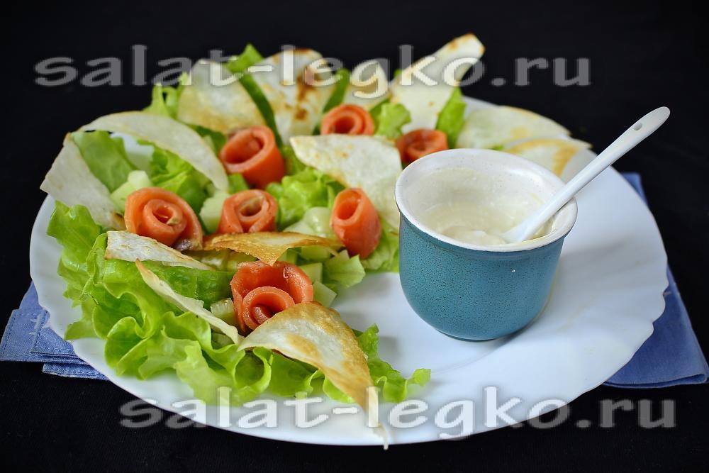 рецепт салата из красной рыбы с кукурузой
