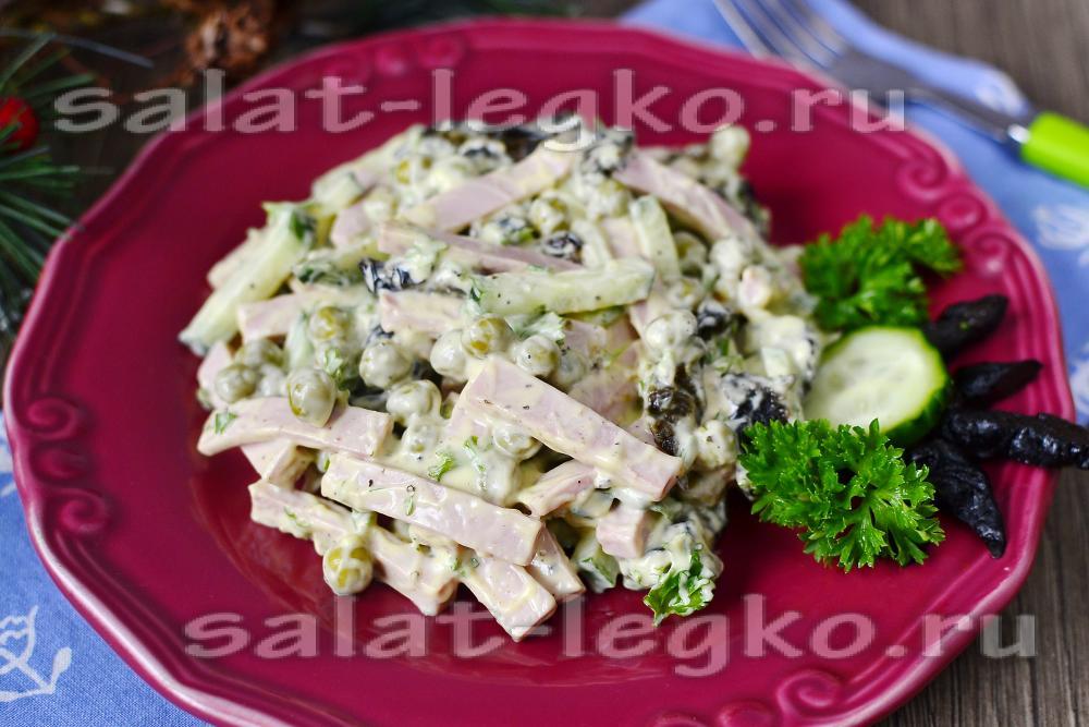 Салаты с колбасой и зеленым горошком рецепты с простые и вкусные