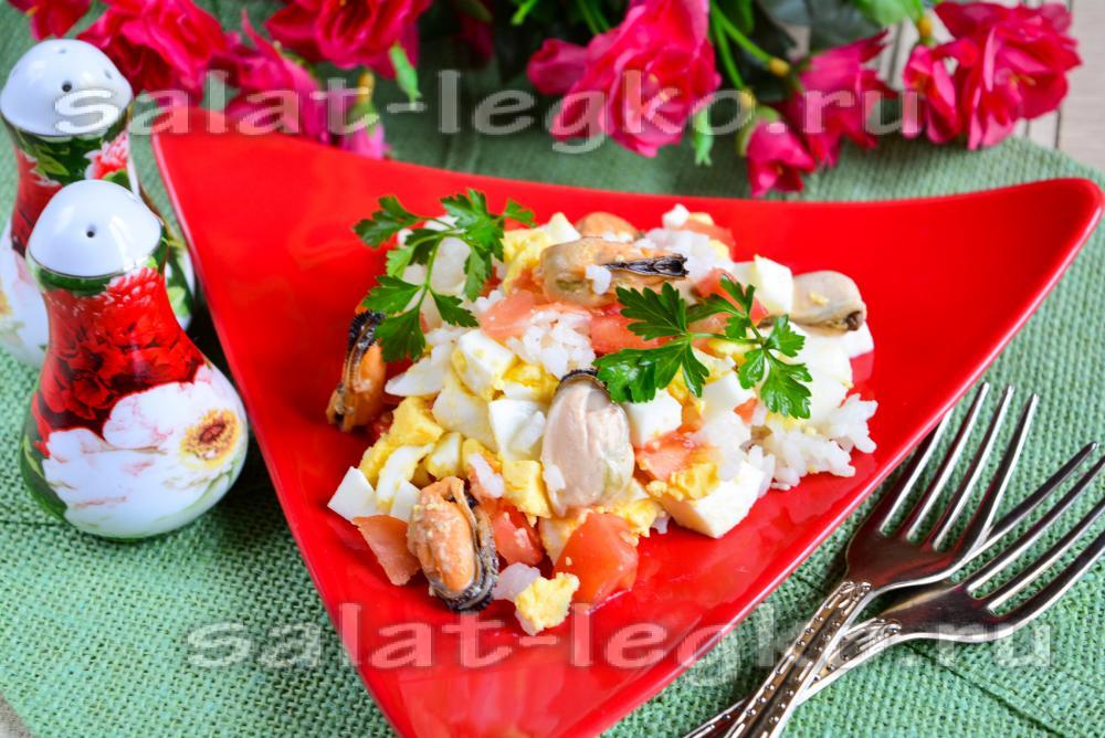 Салат из мидий и крабовых палочек рецепт с