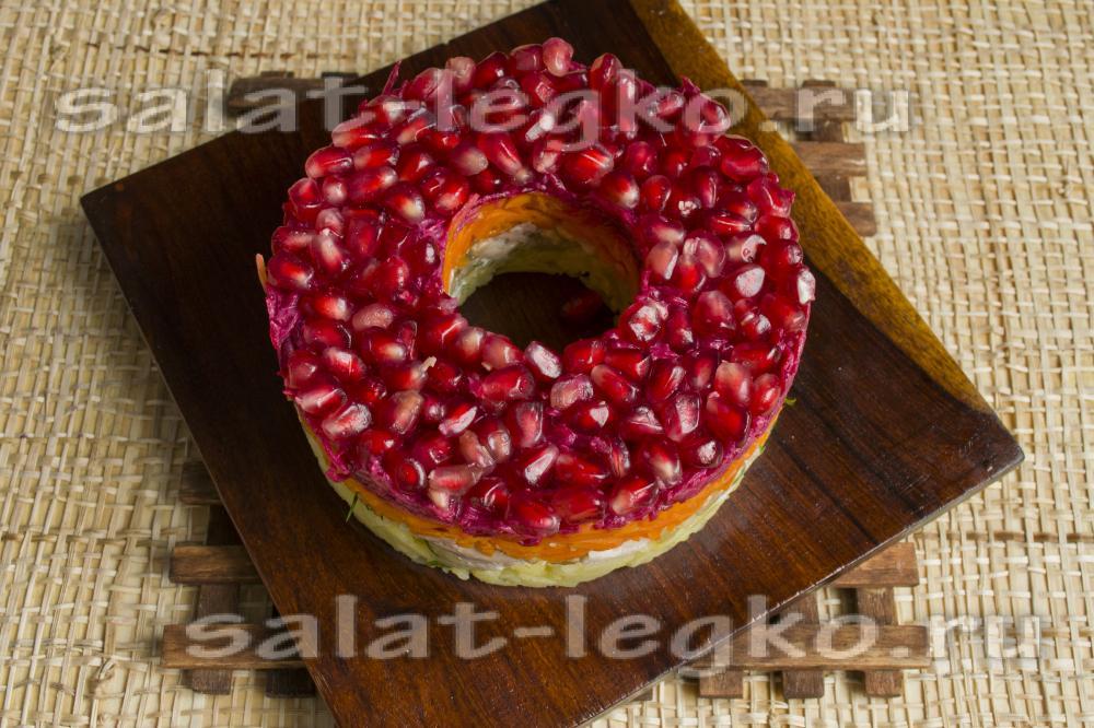 Салат гранатовый браслет с курицей пошаговый рецепт с черносливом с фото