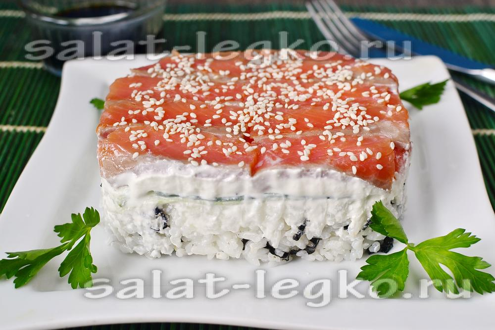 салат суши торт пошаговый рецепт