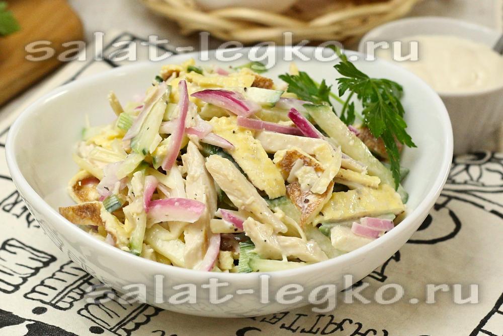 Салаты с омлетом и мясом рецепты с