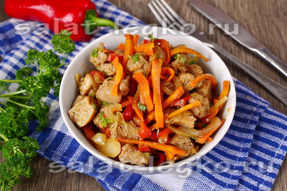 Салат с соевым мясом с фото