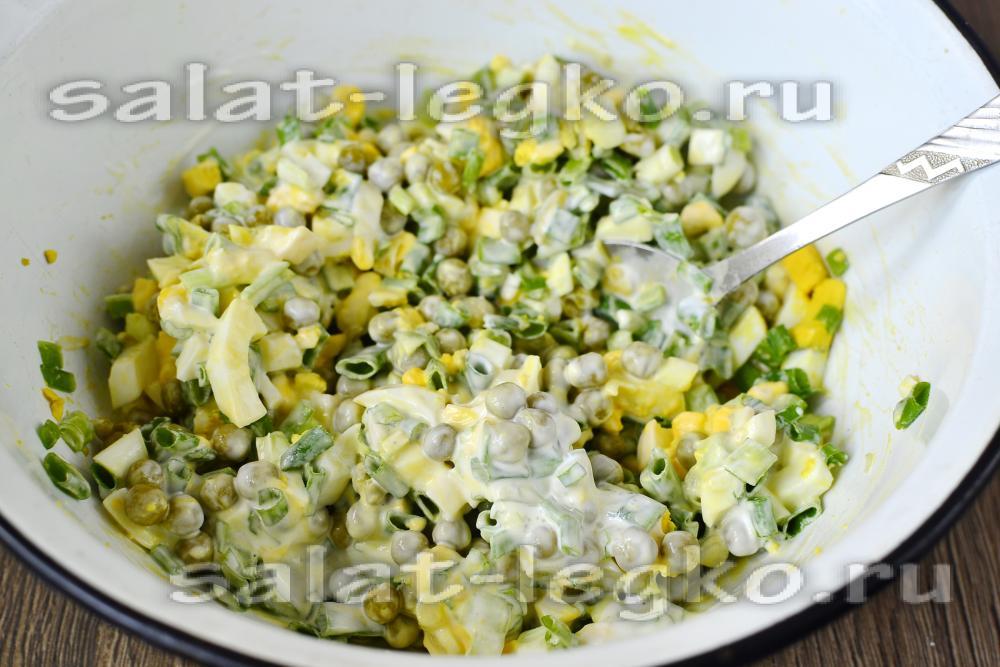 Крабовый салат с зеленым луком рецепт с