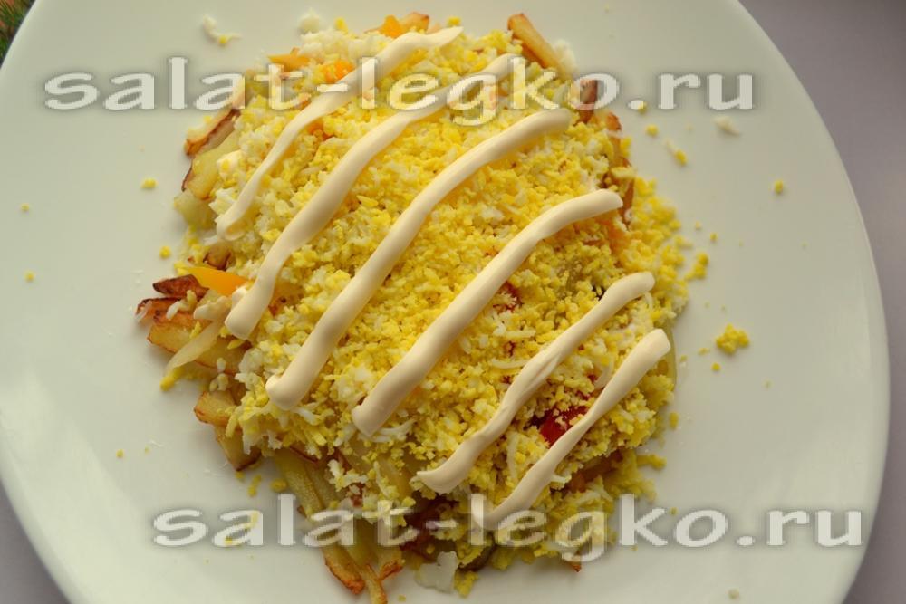 рецепт салата светофор с жареным картофелем