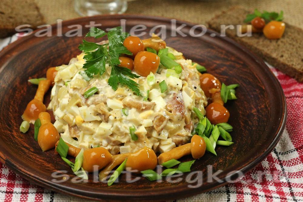 Салаты рецепты с с куриным филе и грибами
