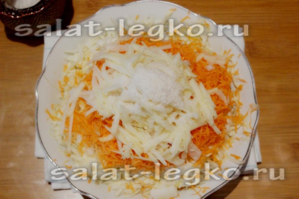 Салат из капусты и яблок рецепт пошагово