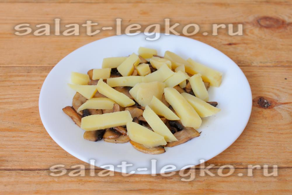 Салаты с жареными шампиньонами рецепты простые и вкусные