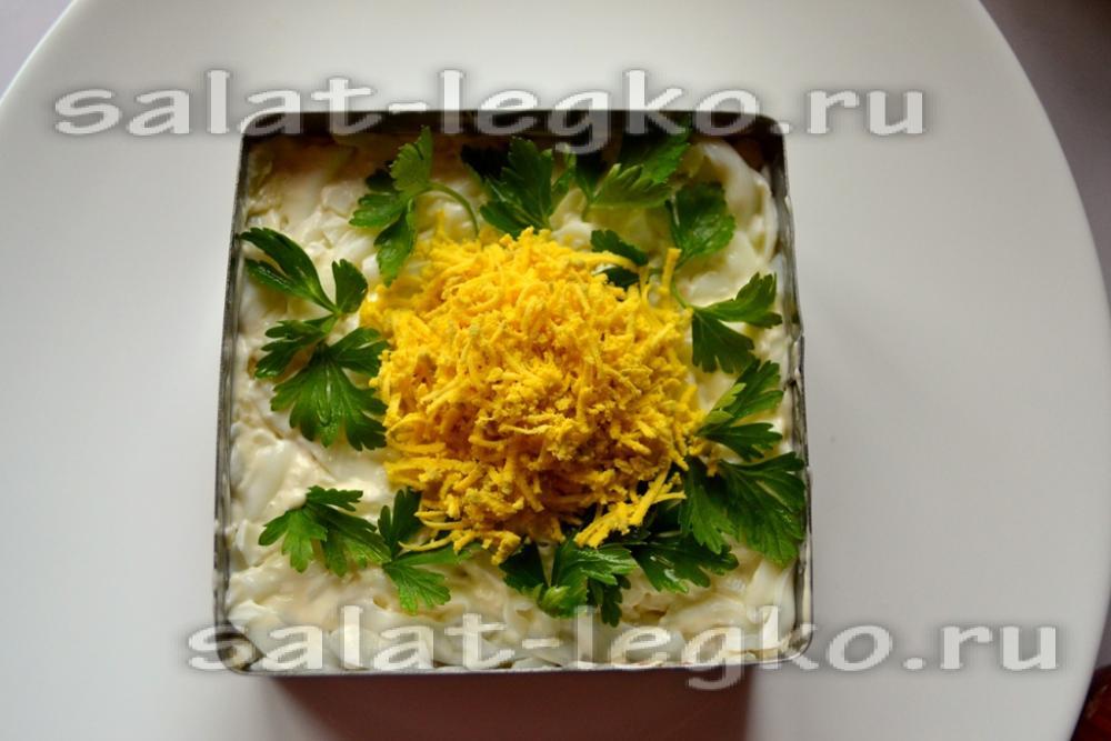 Салат мимоза со скумбрией
