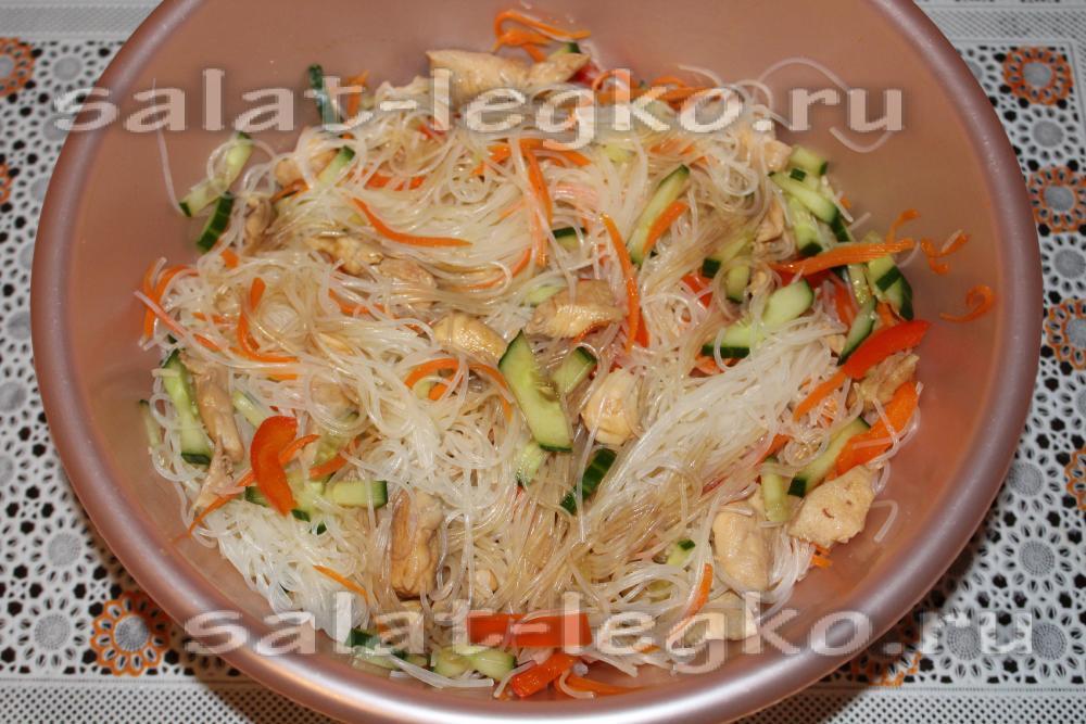 Фунчоза с курицей и овощами в соусе терияки рецепт пошагово