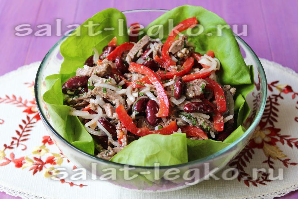 Теплый салат с языком рецепт