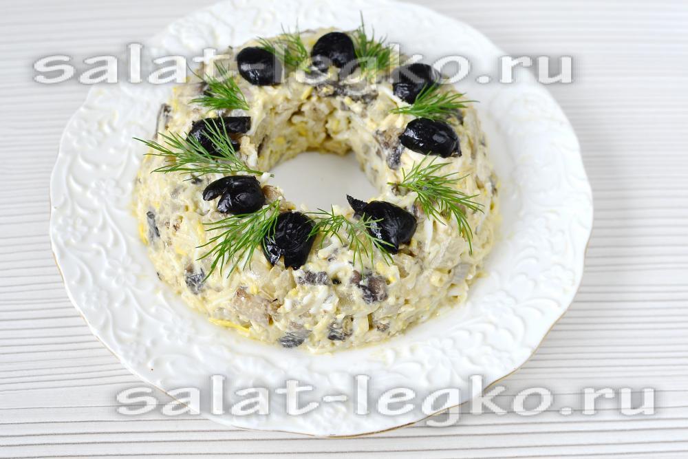 Лесная поляна с курицей салат рецепт пошагово
