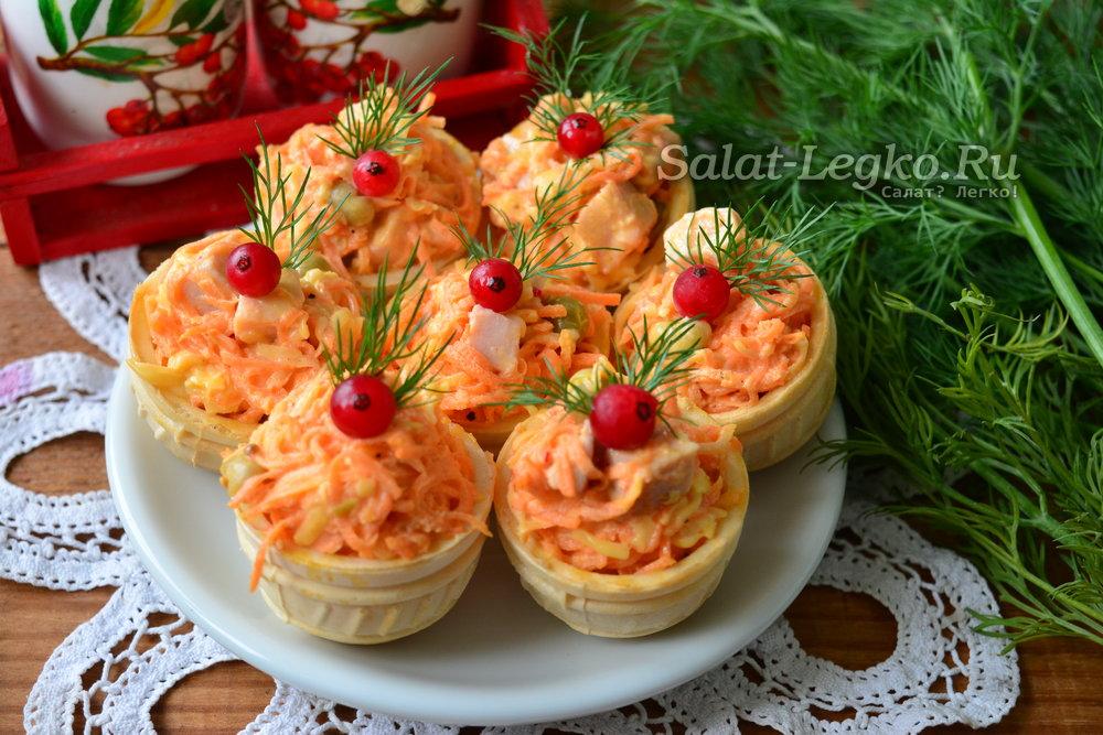 Рецепт салата в тарталетках с ветчиной 145