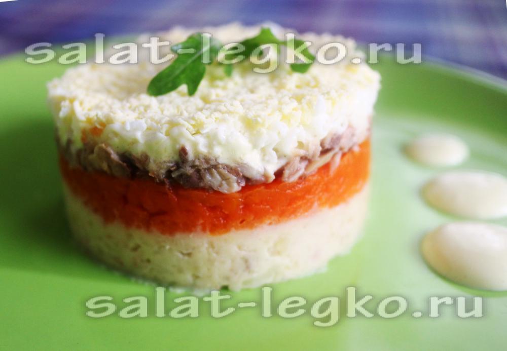 Салат мимоза со скумбрией классический