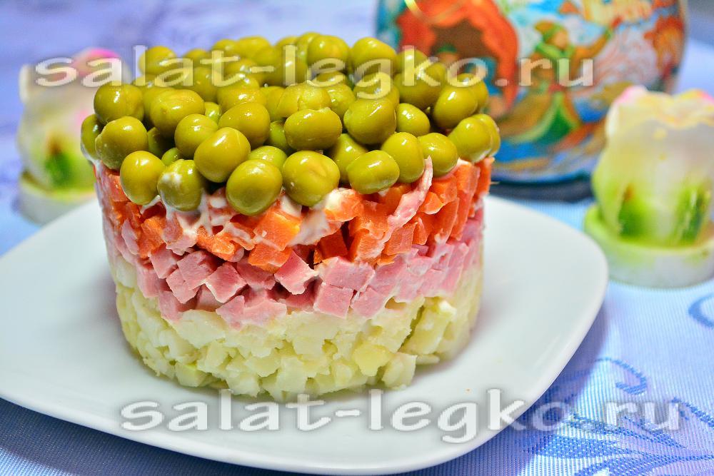 фото рецепт слоеного салата с колбасой
