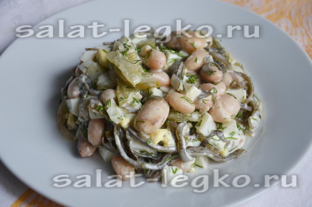 Салат из фасоли и морской капусты рецепт с очень вкусный