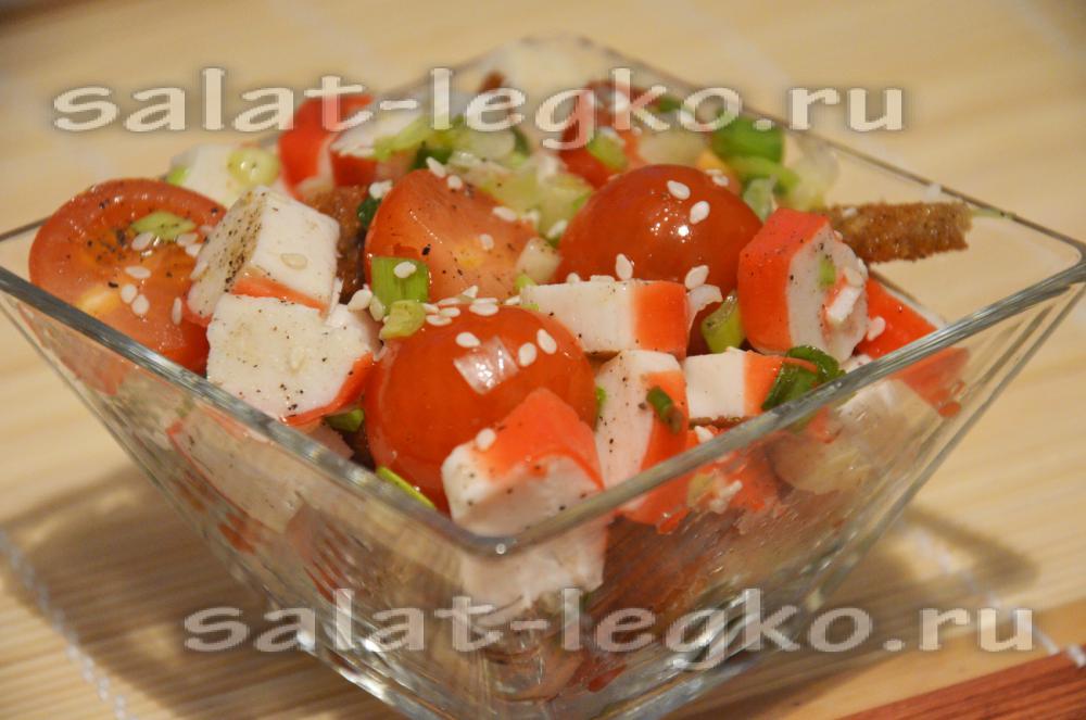 Салат крабовые палочки помидоры сухарики