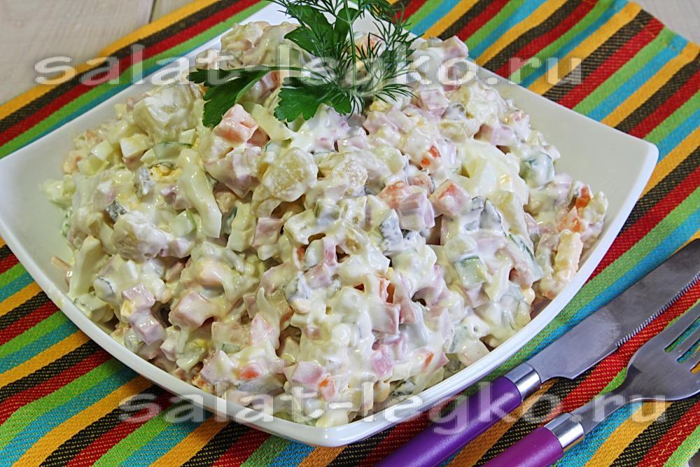 Зимний салат рецепт классический с колбасой пошагово
