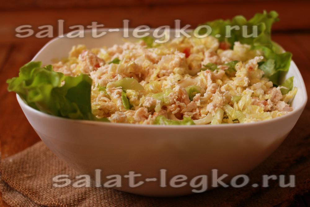 рецепты салата с копченой курицей и пекинской капустой