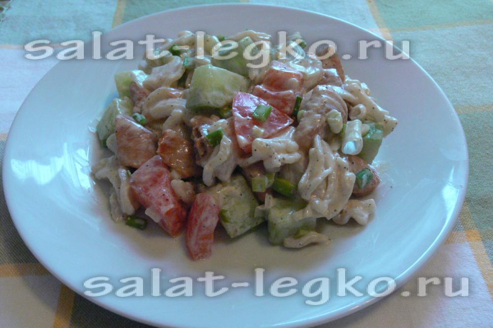 рецепты салатов с курицей и макаронами