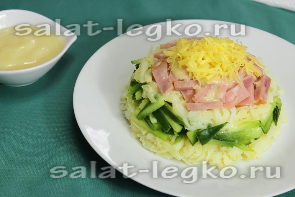 Салат с ветчиной и ананасами слоями рецепт с