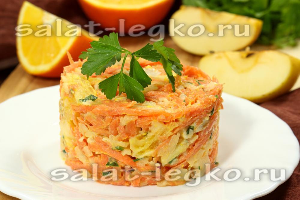 Салат с апельсинами и курицей слоями