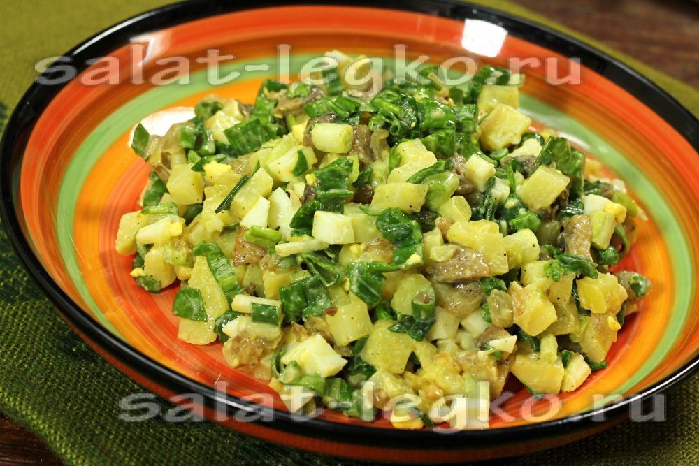 Салат с грибами и картошкой